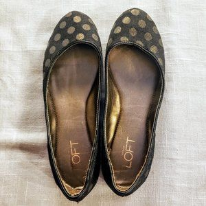 ANN TAYLOR LOFT Flats, Black Polka Dot Career, 6.5